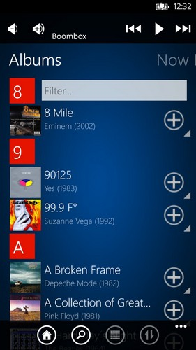 windows phone 8 squeezebox app
