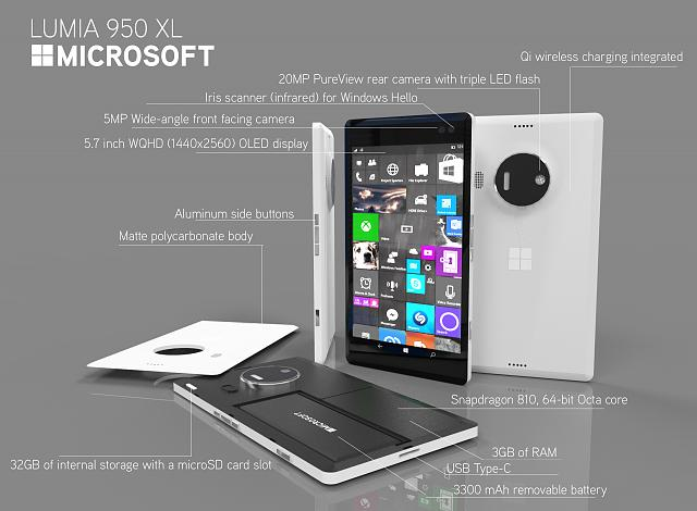 ultimate renders of the lumia 950 xl and specs windows