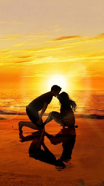 kissing-lover-sunset-beach-iphone-6-wallpaper-ilikewallpaper_com.jpg
