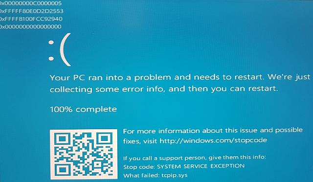 tcpip.sys causing BSOD in Windows 10 x64 - Windows Central Forums