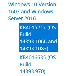 Cumulative Update for Windows 10 Version 1607 for x64-based Systems