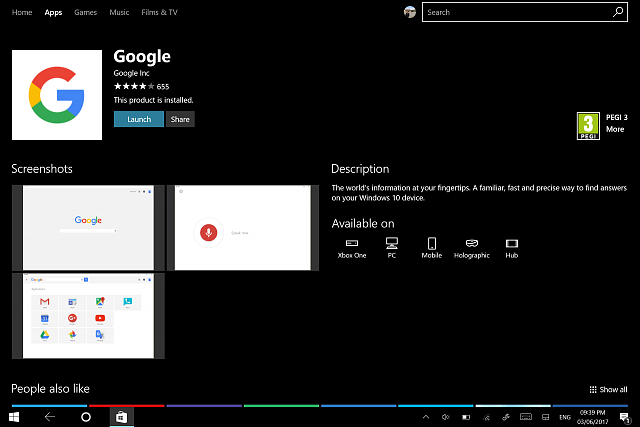 Google app goes UWP - quietly include many apps like YouTube
