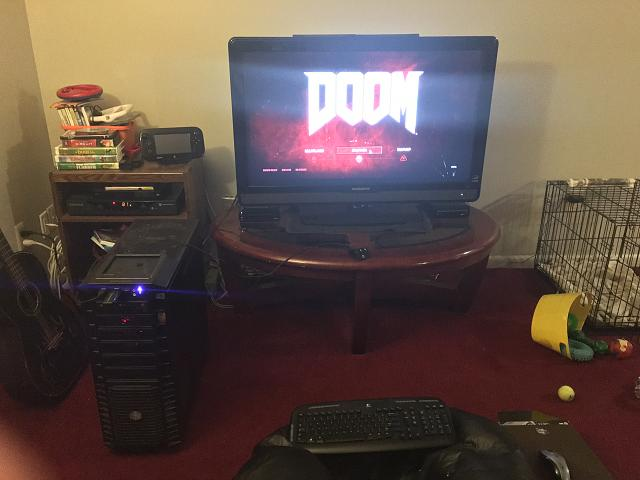 Heres A Shot Of My Setup In The Living Room With Gaming Desktop PC Running New Doom GTX 970 I Can Run It 1080p Everything Maxed Out